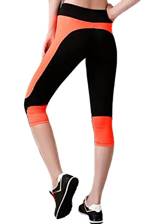 Clothdigger Black and Orange Patchwork Capri Yoga Pants ...