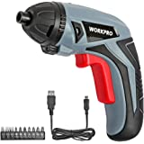 WorkPro Cordless Rechargeable Screwdriver, Powered by 3.6V Li-ion Battery Screw Gun, USB Charging Cable -10 Piece Bits