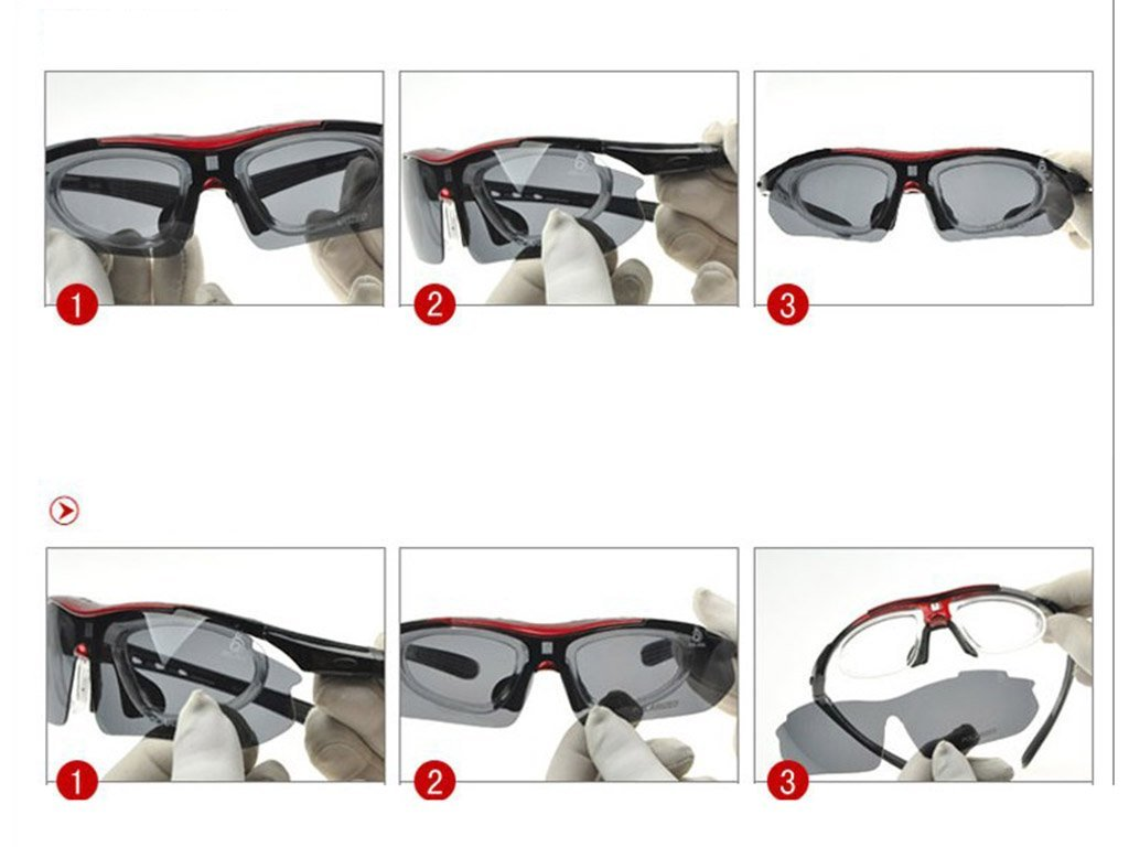 Gafas Polarizadas Deporte Bici Anti UV400 Gafas para Correr Running Antivaho con 5 Lentes Intercambiables Adaptadas También A Ciclismo Bicicleta De Montaña ...