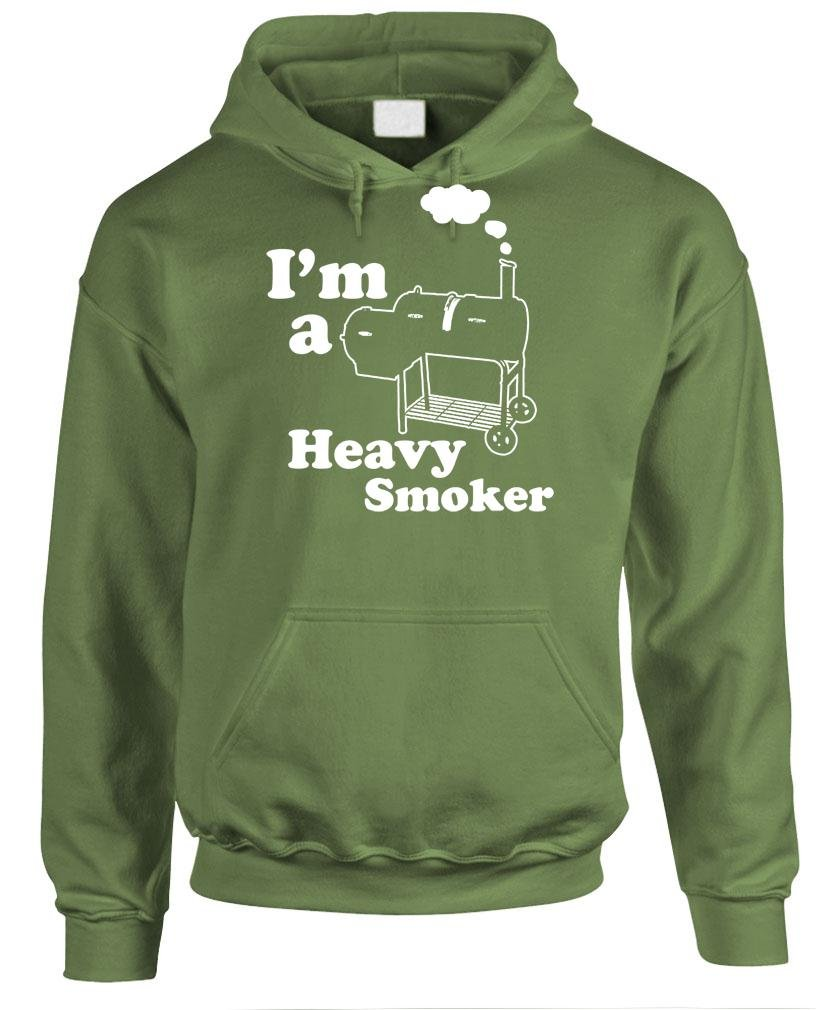 Guacamole I'm A Heavy Smoker - Grill Barbecue BBQ - Mens Hoodie, L, Military by Guacamole