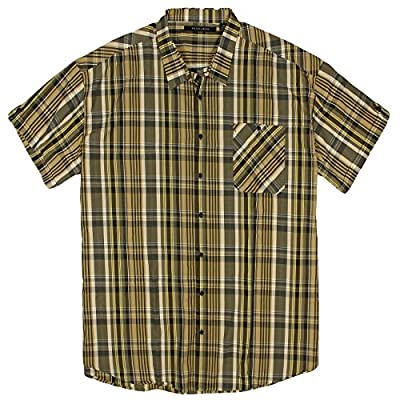 Sean John Mens Big & Tall Short Sleeve Plaid Shirt, 5XB, Kelp