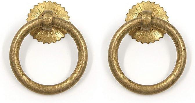 2Pcs Antique Brass Cabinet Dresser Cupboard Drop Ring Pull Handle DIY Knob