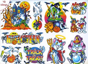halloween glass stickers clings decorations vinyl film window reusable every year 3 sheets - Halloween Window Clings