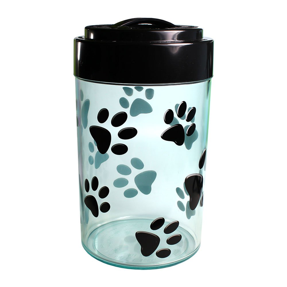 Pawvac 5+ Pound Vacuum Sealed Pet Food Storage Container; Black Cap & Clear Body/Black Paws by Tightpac America, Inc.