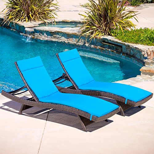 Christopher Knight Home 295119 Salem Patio Chaise Lounge, Multibrown/Blue by Christopher Knight Home