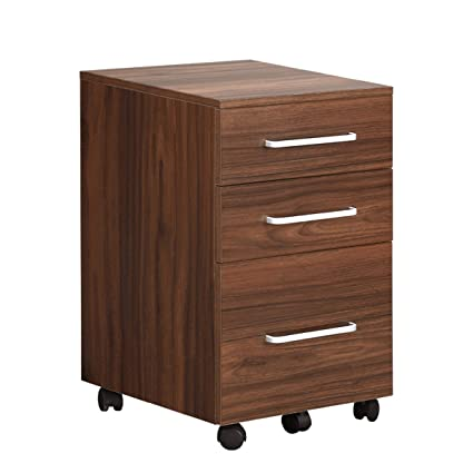 DEVAISE 3 Drawer Wooden File Cabinet With Wheels, 15.7 Inch X 15.7