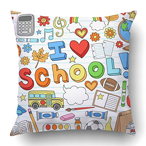 Emvency Throw Pillow Covers Brown Teacher I Love School Classroom Supplies Doodles Design on Lined Sketchbook Lunch Science Polyester 18 X 18 Inch Square Hidden Zipper Decorative Pillowcase