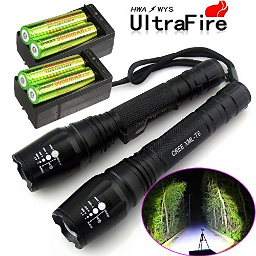 2X-Police-Tactical-5000-Lumens-Led-Flashlight-18650-Cree-T6-XML-Torch-Battery-Charger