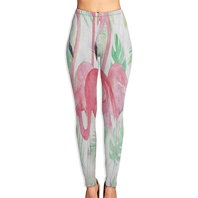 variety of designs and colors fashionable and attractive package luxury Custom Watercolor Leaf Pink Flamingo Yoga Pants Leggings ...