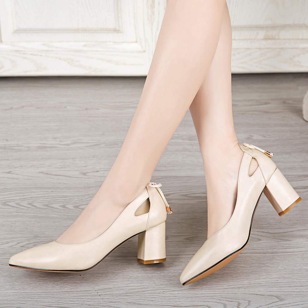 Darringls_Zapatos para Mujer,Zapatillas Tacón Grueso Puntiagudo con un Solo Zapato de Boca Baja.: Amazon.es: Ropa y accesorios