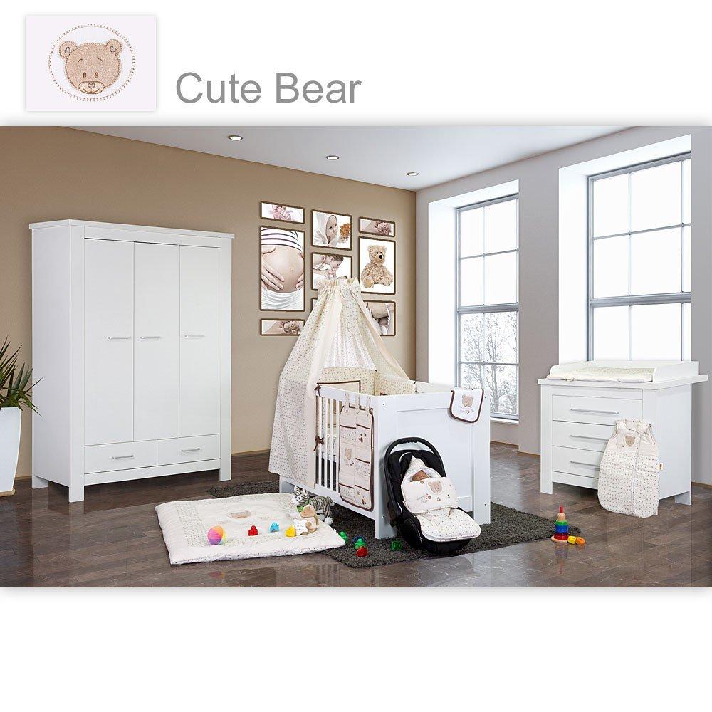 Babyzimmer Enni in weiss 10 tlg. mit 3 türigem Kl. + Textilien von Cute Bear in Beige