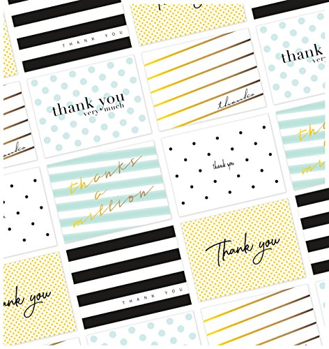 Polka Note (36 Thank You Cards, Includes 12 Gold Foil Thank You Cards, All Occasion Cute Polka Dots and Striped Thank You Notes, Box Set Blank Inside Assorted Note Cards, Envelopes Included, 4.75 x 3.5 Inches)