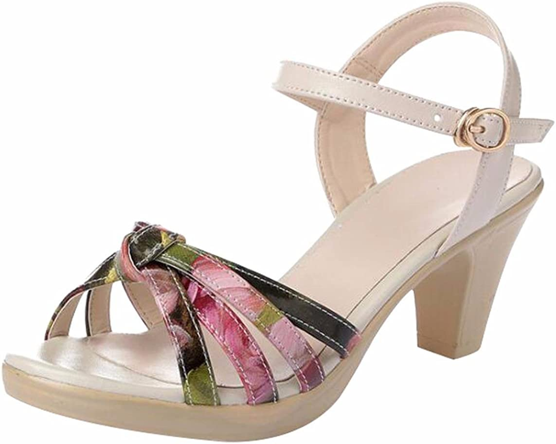 Jiu du Womens Cute Block High Heel Sandals Ankle Strap Dress Shoes for Wedding Prom Party Evening