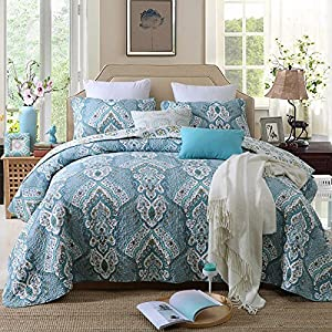 Quilt Set King, Cotton World Li Premium 3 Piece Coverlet Set as Bedspread Bed Cover Reversible Elegant Comfort Luxury LightWeight - Wrinkle & Fade Resistant-King/California King