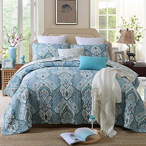 Quilt Set King, Cotton World Li Premium 3 Piece Coverlet Set as Bedspread Bed Cover Reversible Elegant Luxury Comfortable LightWeight - Wrinkle & Fade Resistant-King/California King