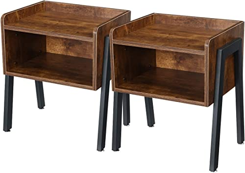 KINGSO Industrial Nightstand Set of 2 Stackable Side End Tables Couch Table