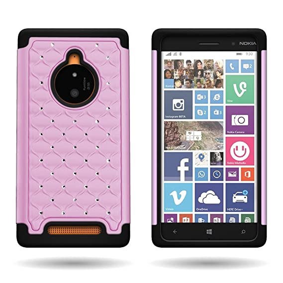wholesale dealer 3e79f 38c26 Nokia Lumia 830 Case, CoverON Hybrid Dual Layer Diamond Sparkle Bling Cover  Case for Nokia Lumia 830 - [Light Pink Hard Plastic Shell + Black Soft ...