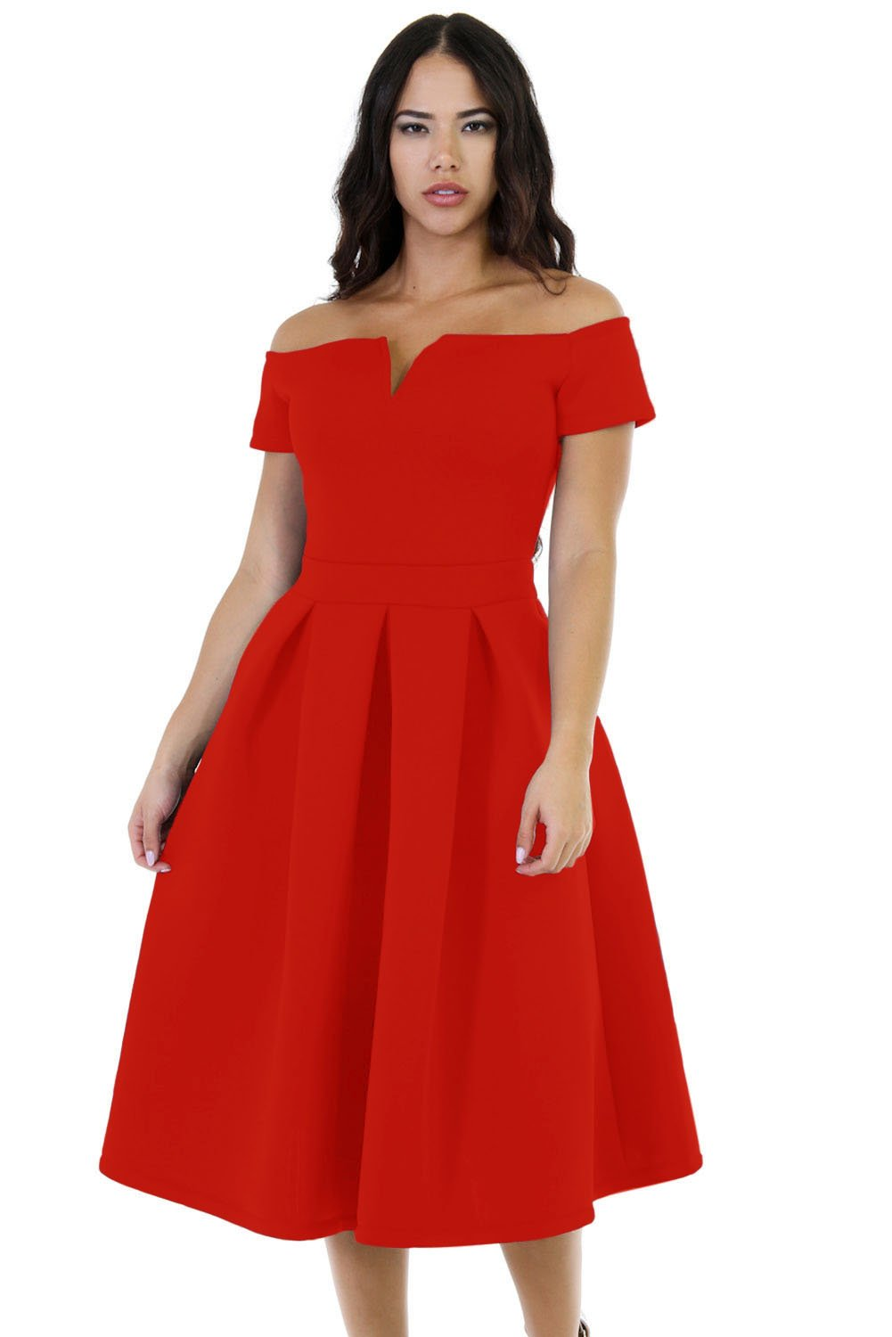 Lalagen Women's Vintage 1950s Party Cocktail Wedding Swing Midi Dress Red XL