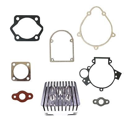 JRL Sliver CNC Cylinder Head&Gasket Set Fit 80cc Motorized Bicycle Bike Motor Engine: Automotive