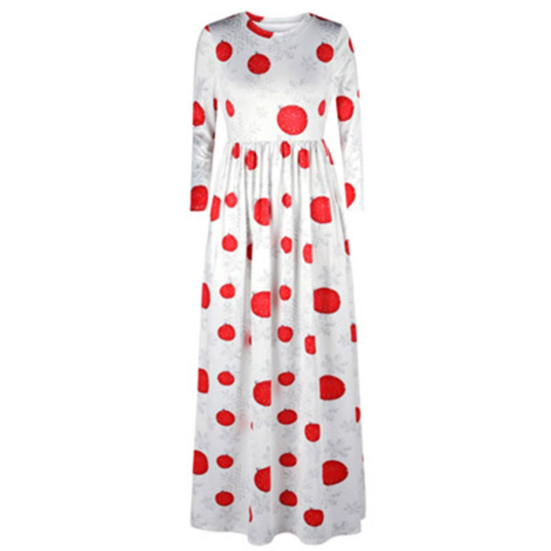 80192 007 BCVHGD Dress 3D Christmas Tree Print Women Nine Point Sleeve Vintage Long Dresses