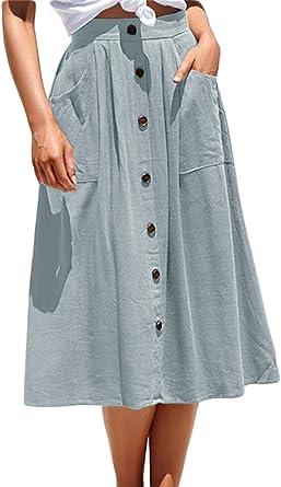 Faldas Midi con Botones De Algodón De Cintura Alta Casual De ...