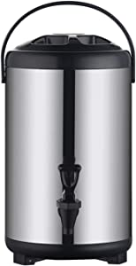 Stainless Steel Insulated Beverage Dispenser – Insulated Thermal Hot and Cold Beverage Dispenser with Spigot for Hot Tea & Coffee, Cold Milk, Water, Juice,Soup Family Party Cafe Buffet