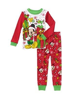 disney mickey mouse pluto christmas holiday baby toddler pajamas sleepwear