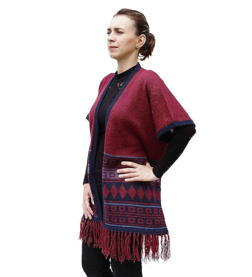 Womens Alpaca Wool Blend Knitted Cardigan Open Coat Sweater Multicolor Design