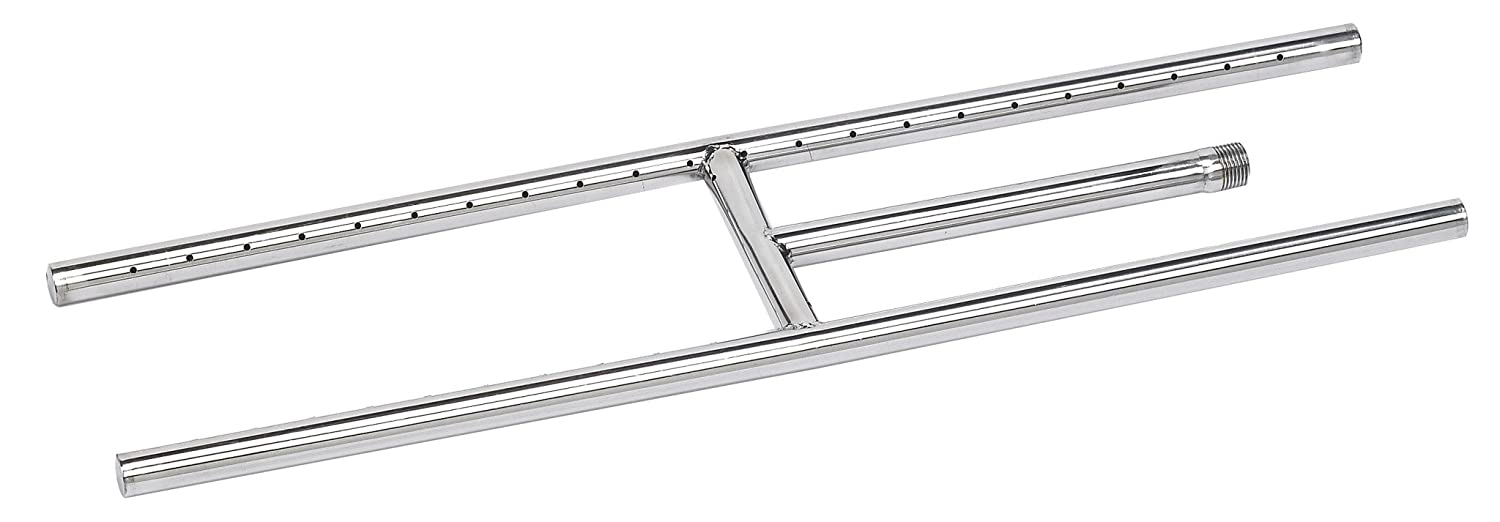 American Fireglass SS-H-24 304 Stainless Steel H-Style Burner, 24-Inch by 6-Inch Inc
