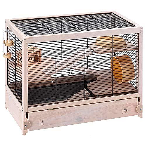 Jaula de Madera para hámsteres HAMSTERVILLE, Casa para ratoncillos y pequeños roedores, Estructura en Varios Niveles, Accesorios incluidos, 60 x 34 x 49 cm Negro
