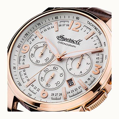 Ingersoll Män The Regent Quartz klocka med silver urtavla och brun läderrem I00101