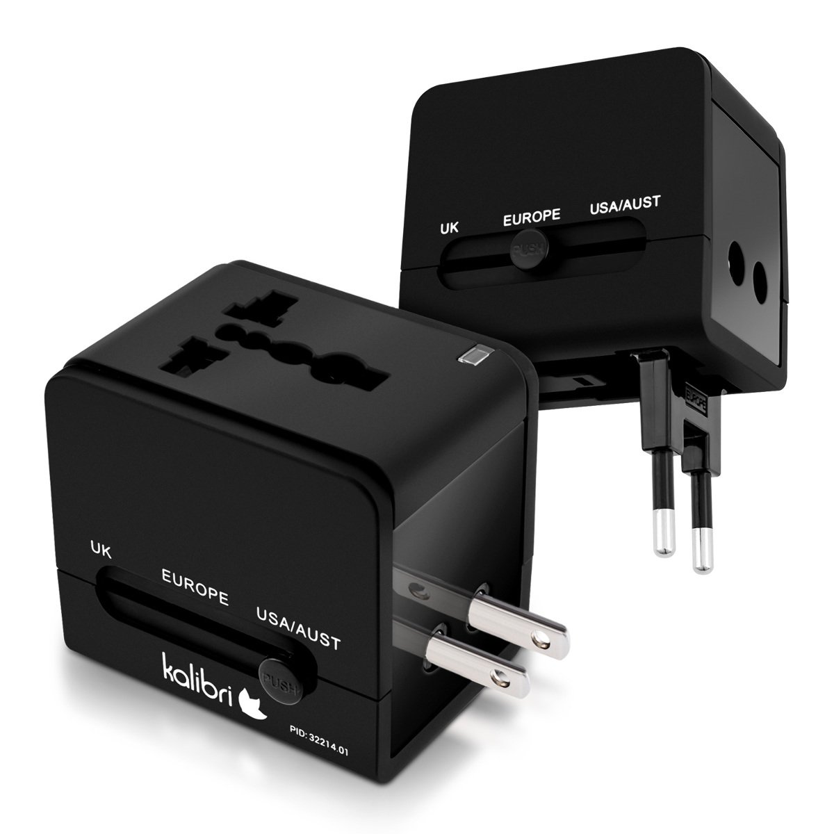 kalibri adattatore universale da viaggio all in one - converter presa corrente per 150 Paesi - travel adapter con 2 porte USB - nero KW-Commerce 32214.01_m000133