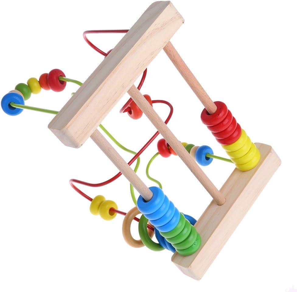 luosh Beads Maze monta/ña Rusa de Madera Juguetes de Madera para ni/ños peque/ños c/írculo de Cuentas Laberinto Juguetes educativos Regalo para ni/ños