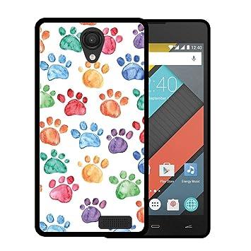 WoowCase Funda para Energy Phone MAX 4G, [Energy Phone MAX 4G ] Silicona Gel Flexible Huellas Perro, Carcasa Case TPU Silicona - Negro