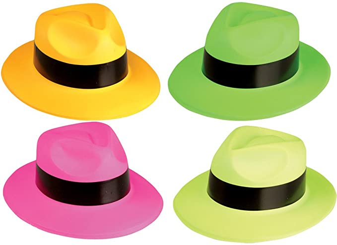 ce43ba6d314b7 Amazon.com  Rhode Island Novelty Neon Fedora Party Pack  Clothing