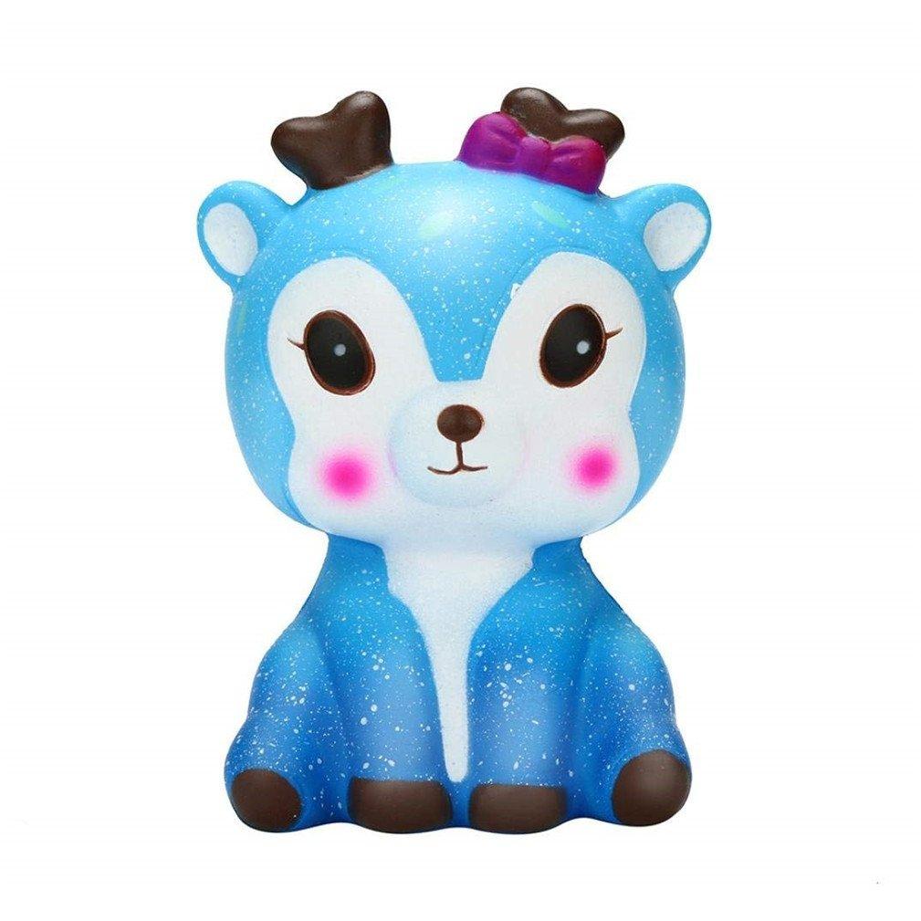Kfnire Stressabbau Squishy pressung Galaxy Hirsch Spielzeug Creme duftende langsam Steigende Weiche dekompression Spielzeug (Blau)