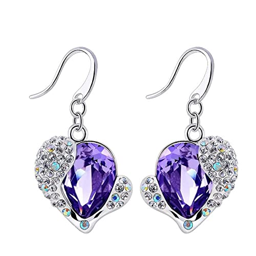 NEVI Heart Fashion Crystals From Swarovski Czech Crystals Rhodium Plated Danglers Earrings Jewellery for Women And Girls (Purple & Silver) Earrings at amazon