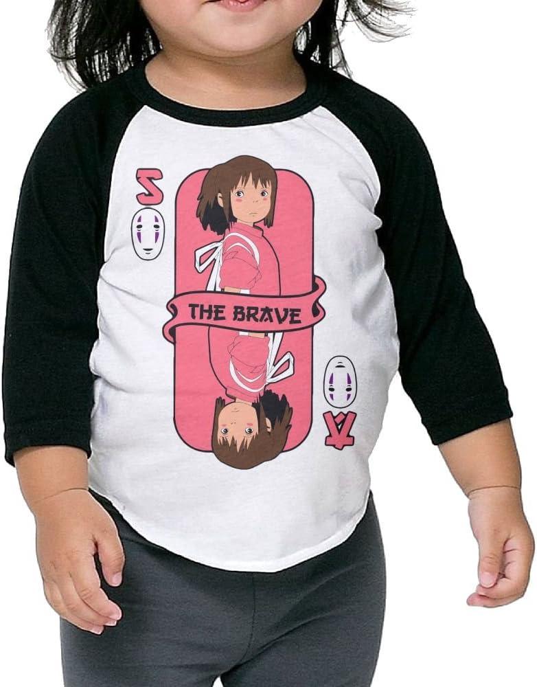 Grace Little Brave Card Spirited Away Particular Boys /& Girls Toddler 100/% Cotton 3//4 Sleeve Raglan Tee Unisex Black