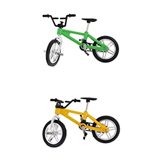 SunniMix Alloy Finger Bike Bicycle Mini Fingerbike Boys Toy Collection Green & Yellow