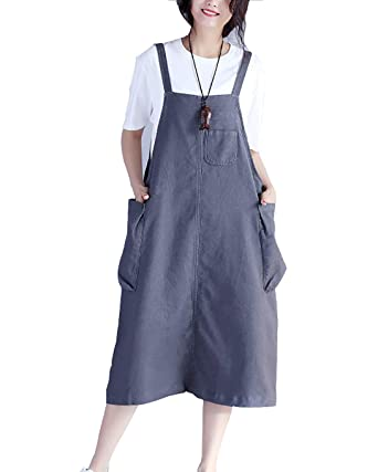 6c3c79f2903 Women Elegant Overall Skirt Loose Fit Plus Size Denim Casual Pinafore Dungaree  Midi Dress with Pockets  Amazon.co.uk  Clothing