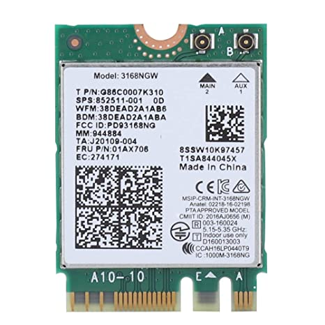 Wendry Tarjeta WiFi Inalámbrica para Intel 3168NGW 433Mbps ...