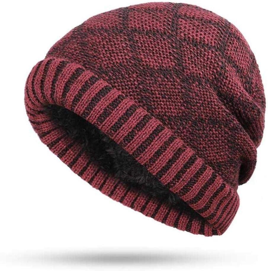 Winter Hat Scarf Men Women Knitting Warm Beanie Hat Ring Scarves Unisex Solid Color Bonnet@Wine