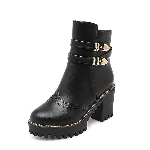 Women's Zipper High-Heels Pu Solid Low Top Boots