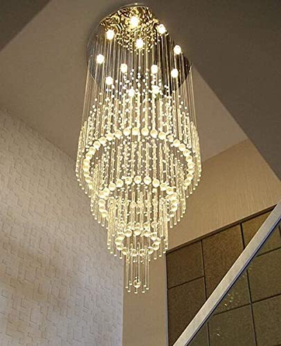 102″ Hight Ceiling Chandelier Crystal Raindrop Chandeliers Staircase Large Chandelier Villa Entrance Foyer Pendant Light Grand Lights Foyer Ceiling Light High Ceiling Fixture,12 LED Bulbs Include