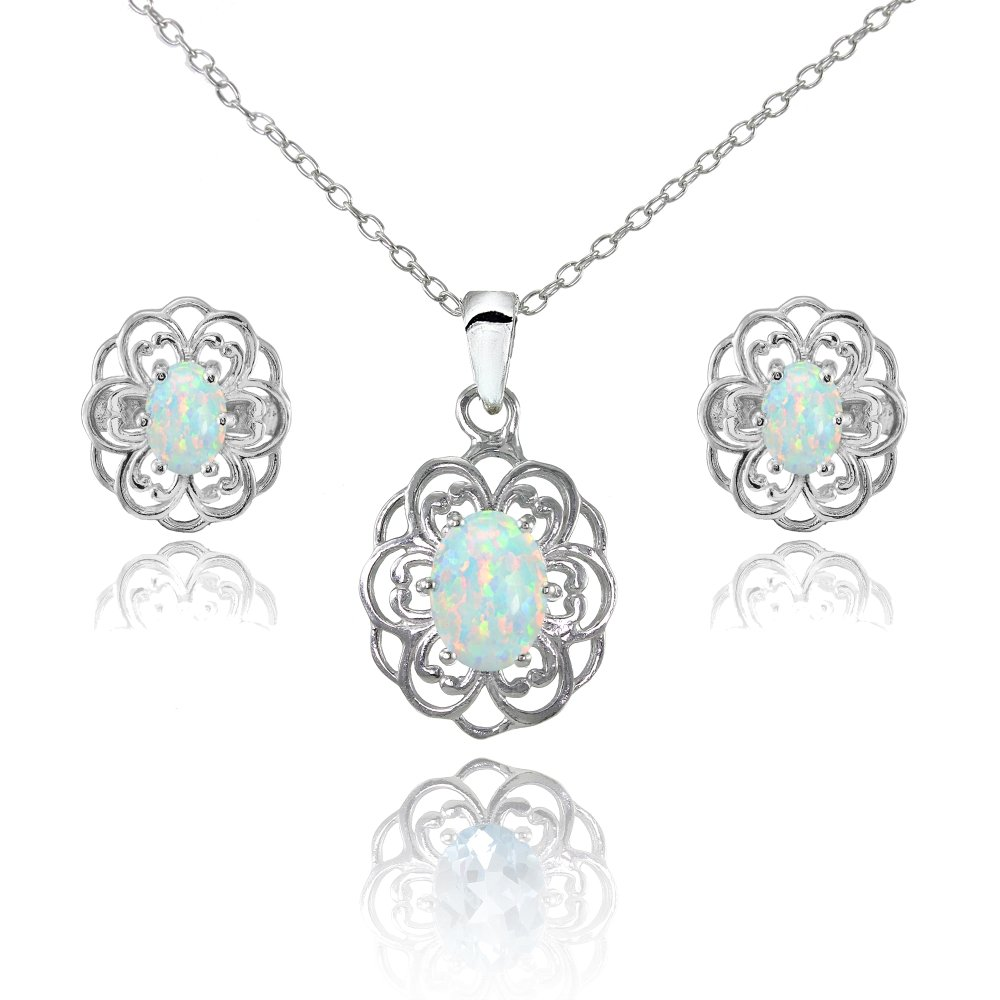 Sterling Silver Simulated White Opal Oval Filigree Flower Pendant Necklace and Stud Earrings Set