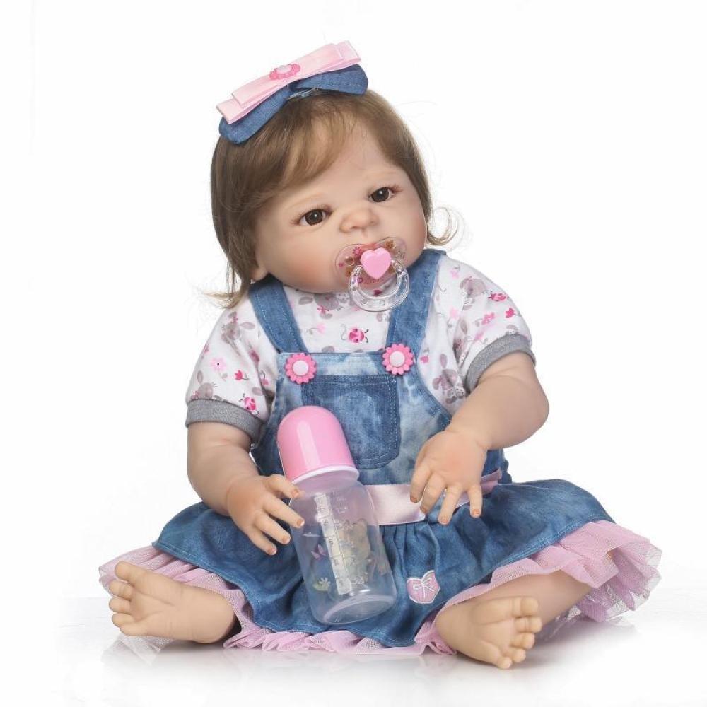 57cm JHGFRT Reborn Babypuppe Das Frühkindliche Spielzeugbaby des Simulationssilikon Neugeborenen Puppe Kann Kreatives Geschenk 57CM Baden,57cm