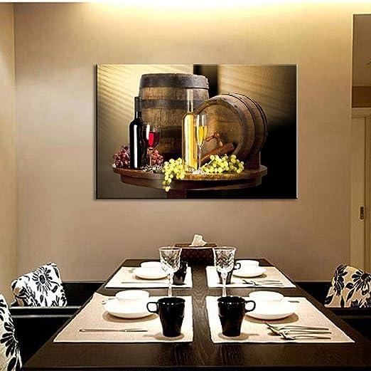 Nature morte bouteilles de vin mur Art peinture vin rouge et ...