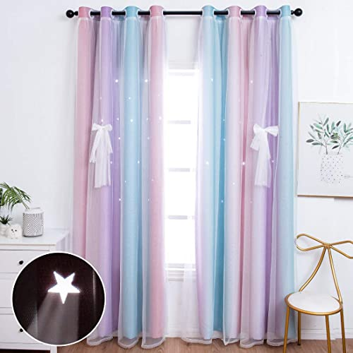 UNISTAR 2 Panels Blackout Stars Curtain