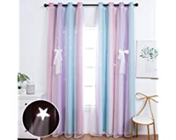 Unistar 2 Panels Blackout Stars Curtains for Kids Girls Bedroom Aesthetic Living Room Decor Colorful Double Layer Star Cut Ou