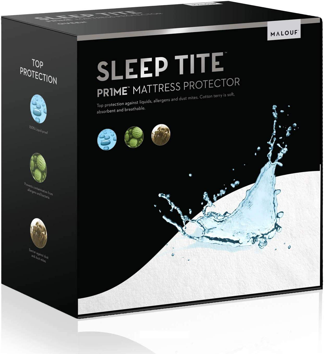 SLEEP TITE Hypoallergenic 100% Waterproof Mattress Protector - 15-Year U.S. Warranty - Vinyl Free - Queen